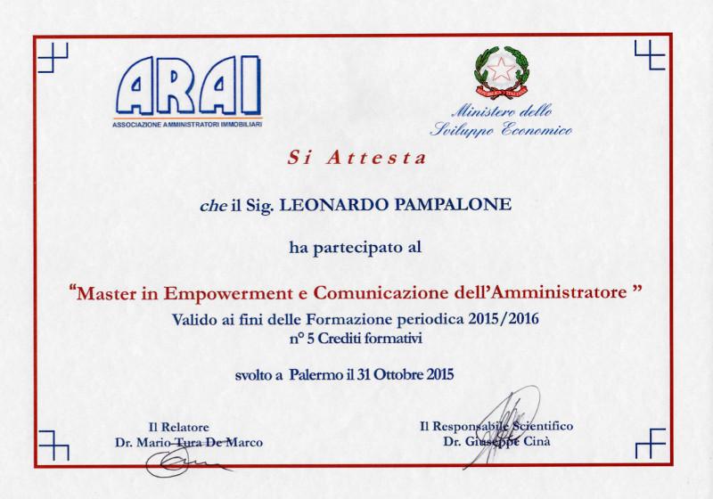 Attestato ARAI - Master in Empowerment e Comunicazione