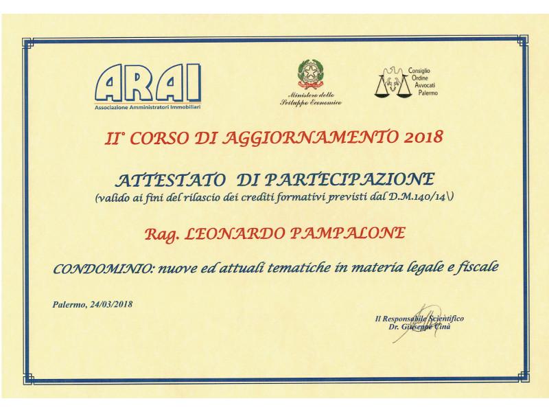Attestato ARAI 2° Corso di Aggiornamento 2018