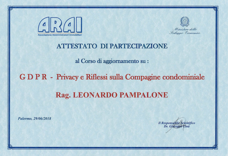 Attestato GDPR - Privacy e Riflessi sulla Compagine Condominiale